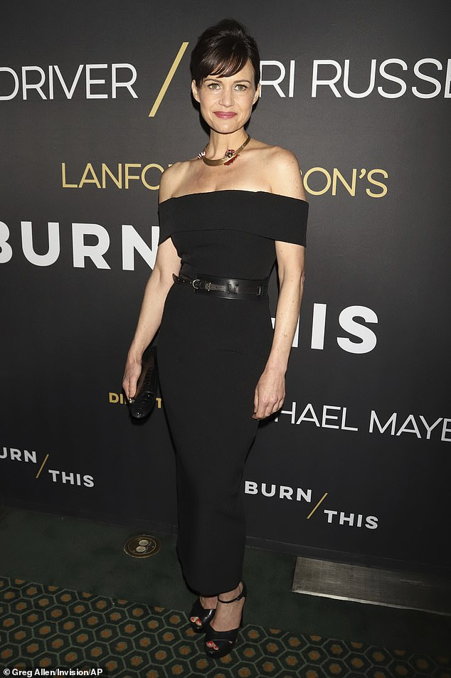 Carla's style:Gugino was wearing a stylish black ensemble, with a strapless black dress with a black leather belt around the waist