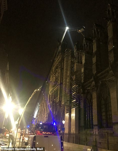 The entrance to the cathedral on Monday evening
