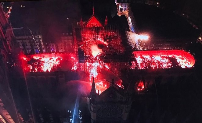 An aerial view of the cathedral taken from a police drone showed the famous structure completely stripped of its roof and still ablaze on the inside