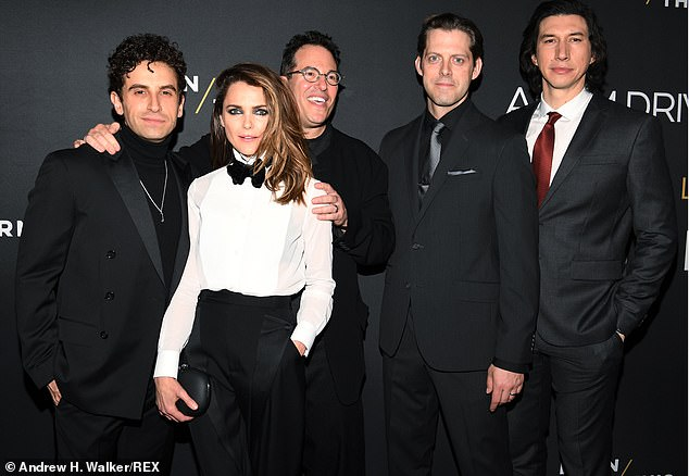 Cast and director: She also posed on the red carpet with the rest of her cast mates, along with director Michael Mayer