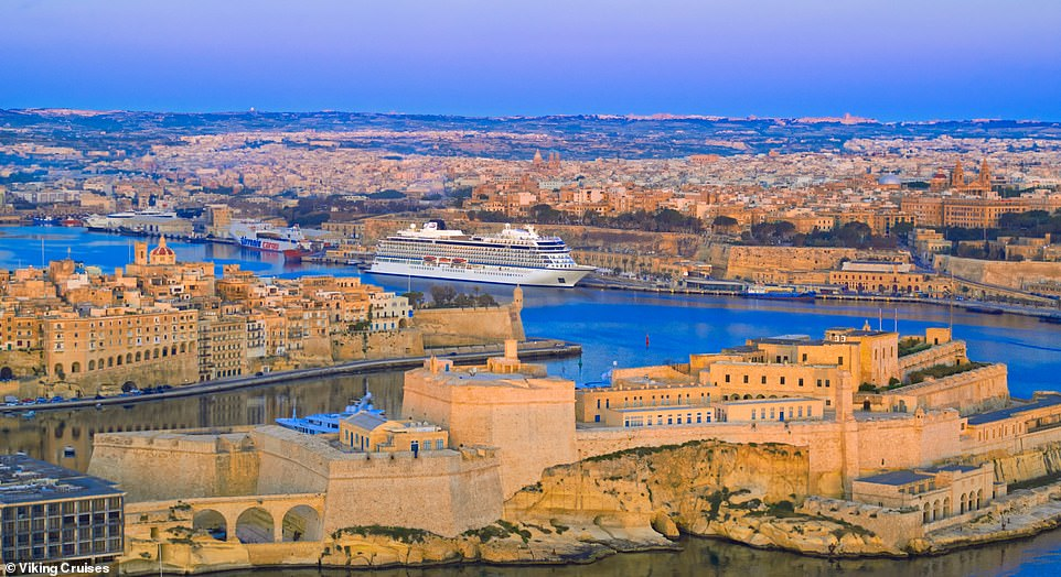Malta is a very popular cruise destination, with a spectacular harbour, a colourful history and streets lined with shops. Above, the Viking Sunenjoys prime parking as it docks in Valletta with the evening light falling