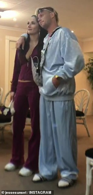 How romantic!In true Vegas style, Jesse wore a pastel blue Louis Vuitton velour tracksuit, complete with white socks and Adidas slides