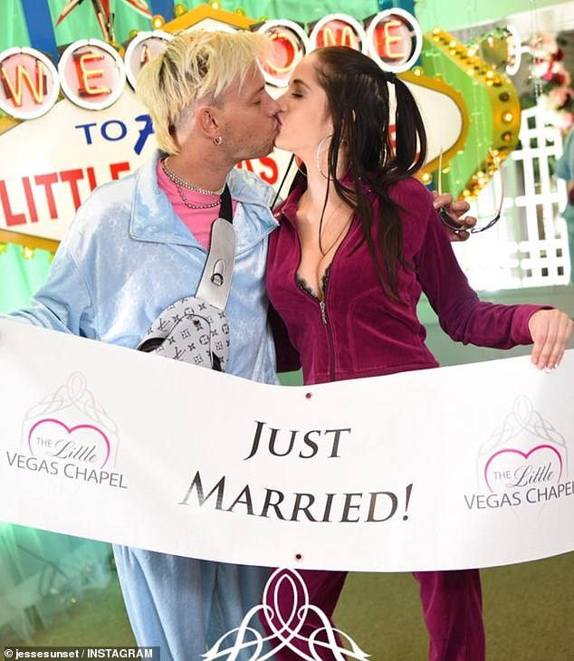 Happily ever after! Jesse announced he married Ashley in a Las Vegas chapel in December last year. He wore a Louis Vuitton velour tracksuit on his special day