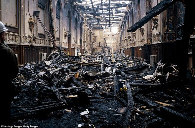 The inferno damaged more than 100 rooms including the vast medieval St George's Hall (pictured)
