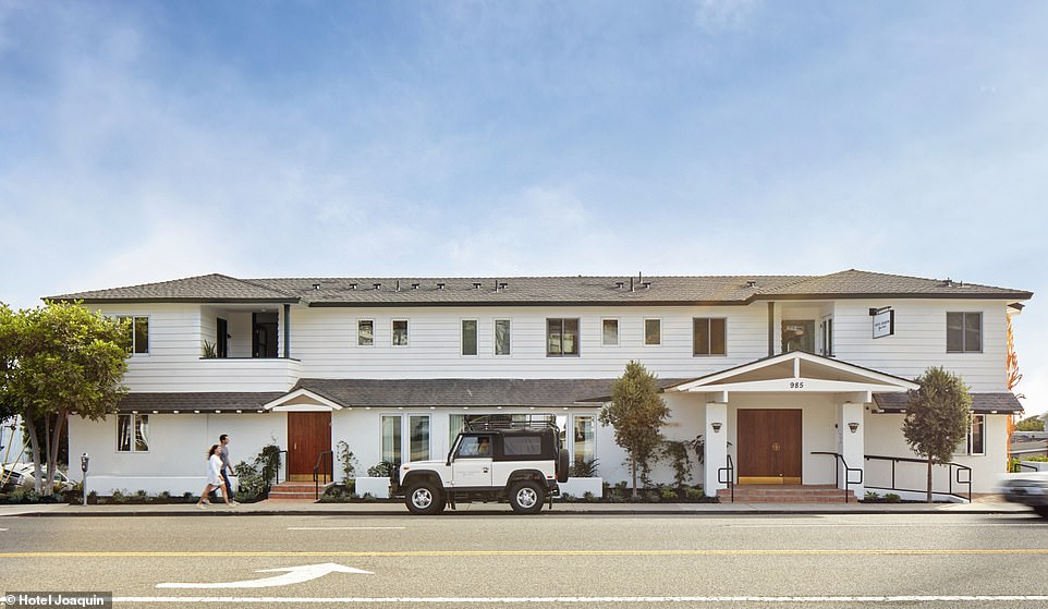 An exterior shot showing Hotel Joaquin, located on California's Laguna Beach. It has been described as a cross between a bungalow, motor lodge and a beach house