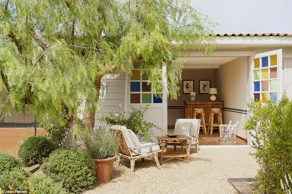 One of the white-washed cabins that guests stay in at the newly re-opened Epi 1959 in St Tropez