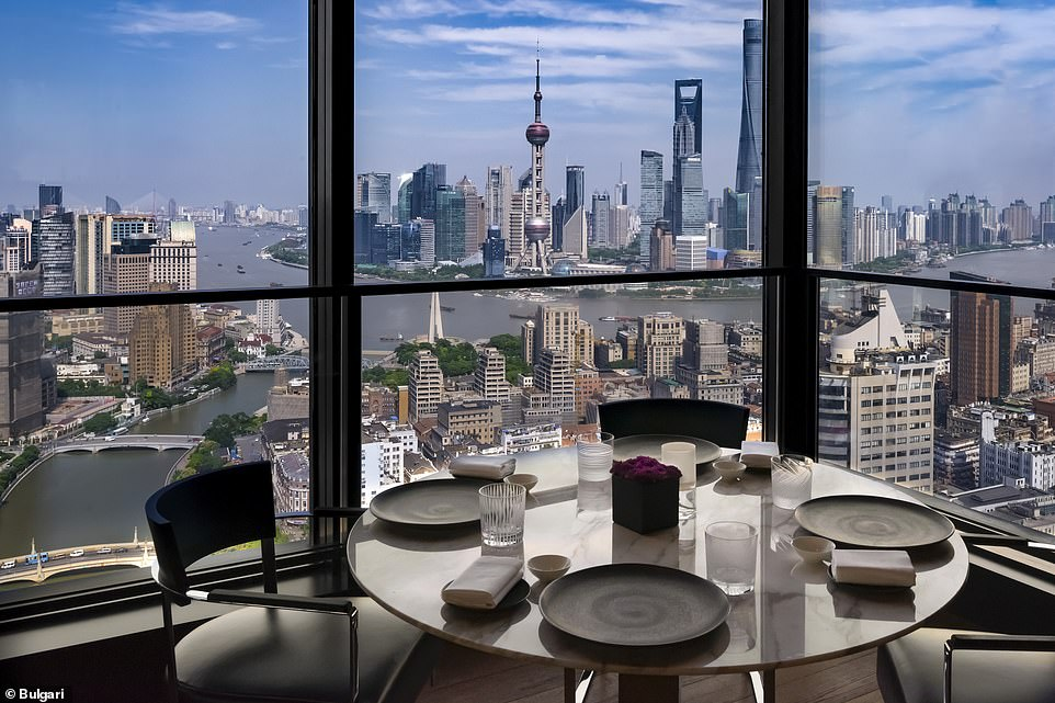 The hotel's restaurant has large windows so customers can make the most of the views across the Shanghai skyline