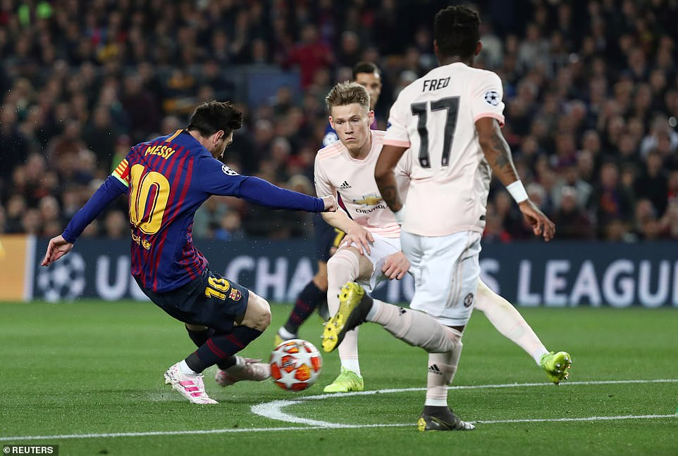 The Barca talisman nutmegged United midfielder Fred before sending a wicked left-footed shot into the bottom left corner