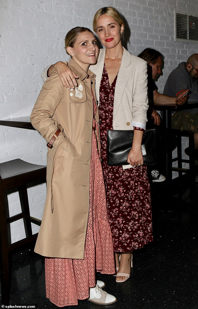 Star-studded soiree: Rose (right) pictured cosying up to US actress Annaleigh Ashford (left) at the opening night in New York City