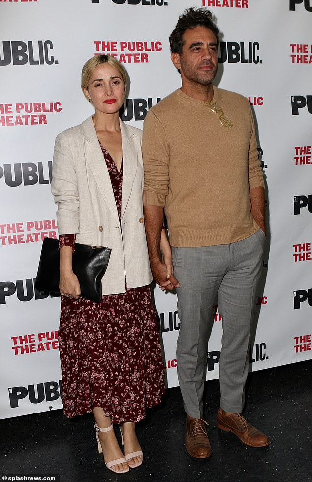 Date night! Rose Byrne (left) looked stylish in a floral maxi-dress while she held hands with Bobby Cannavale (right) at the opening night of Socrates in New York on Monday