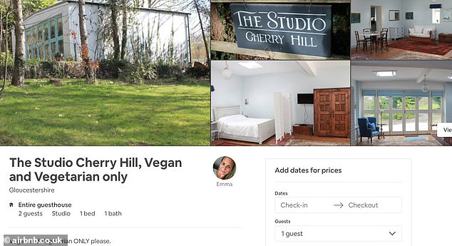 At The Studio Cherry Hill in Gloucestershire, owner Emma specifies: 'Vegan and Vegetarian ONLY please'