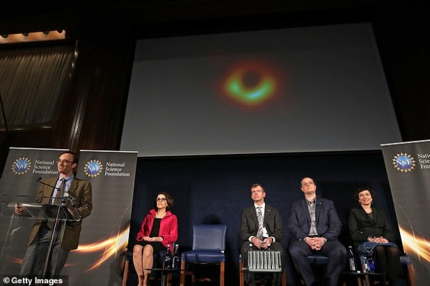 Pictured from left to right: Director of the Event Horizon Telescope, Sheperd Doeleman, Director of the National Science Foundation, France Cordova, Associate Professor of Astronomy at the University of Arizona, Dan Marrone, Professor Avery Broderick of the University of Waterland and Professor of Theory of Energy at the University of Amsterdam Sera Markoff