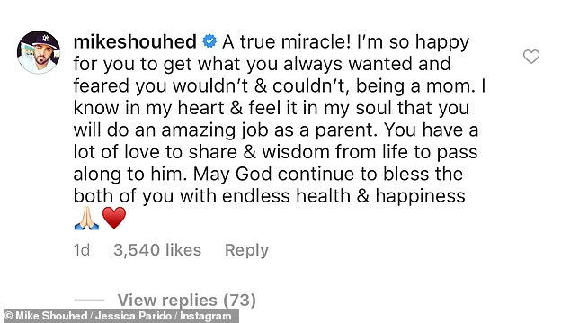 Nice: And while their marriage lasted only eight months, the pair seem to have left any ill-will in the past as Mike took to Instagram to congratulate his ex-wife