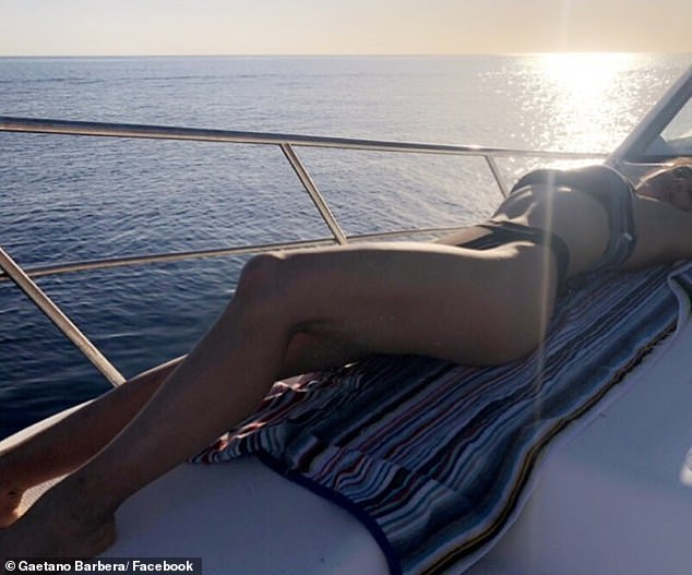 Courtney was director of Barbera Farms until July 2018. Above she is pictured sunbathing on a yacht