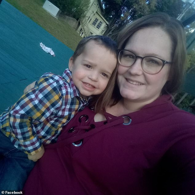 Cotter Cunha, one, from Pawtucket, Rhode Island, accidentally ate a laundry pod in July 2017 while his mother was doing laundry. Pictured: Cotter with his mother, Katelyn Cunha Flores