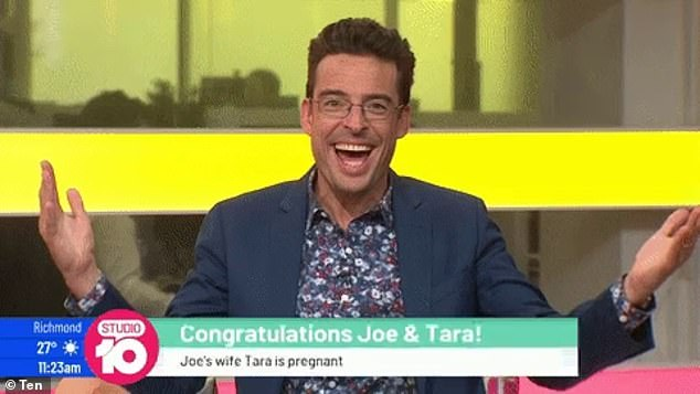 'It's another girl': Studio 10's Joe Hildebrand (pictured on Thursday's show) announced he's expecting his third child with journalist wife Tara Ravens