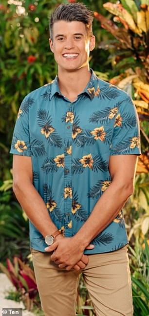 Taking a swipe: Bachelor in Paradise's Bill Goldsmith [pictured] took a swipe at Alex Nation's 'sponsored' wardrobe, in an Instagram post on Friday