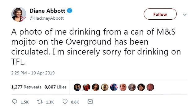 Apologies: Ms Abbott said she was 'sincerely sorry' for drinking the Marks and Spencer cocktail after the photo was published, she tweeted this statement