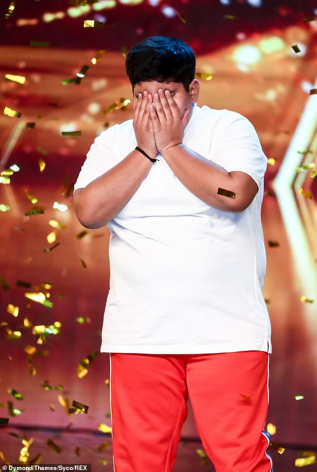In tears: Akshat was left emotional after being given the golden buzzer