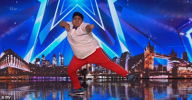 Heart-warming:Akshat opened his performance on Saturday by declaring his two mottos in life to the judges, as he said they were: 'To make everyone happy and make sure they know that nothing is impossible in life'