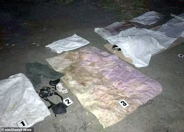 The crime scene in the eastern city of Kursk where police discovered a number of items of clothing