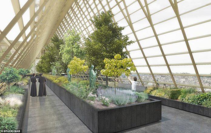 La firma planea reemplazar el techo dañado de la iglesia con un invernadero de vidrio, antes de llenarlo con plantas