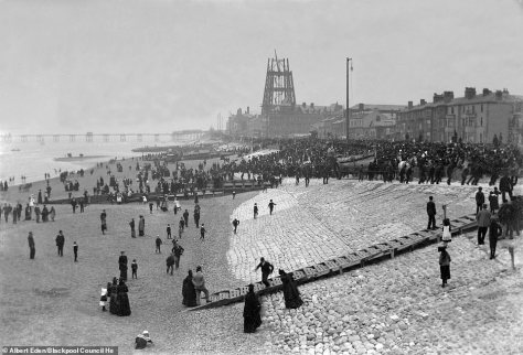 Blackpool beach, where many Brits would enjoy their summer holidays and perhaps even a ride on a donkey, sits infront on the tower in 1893