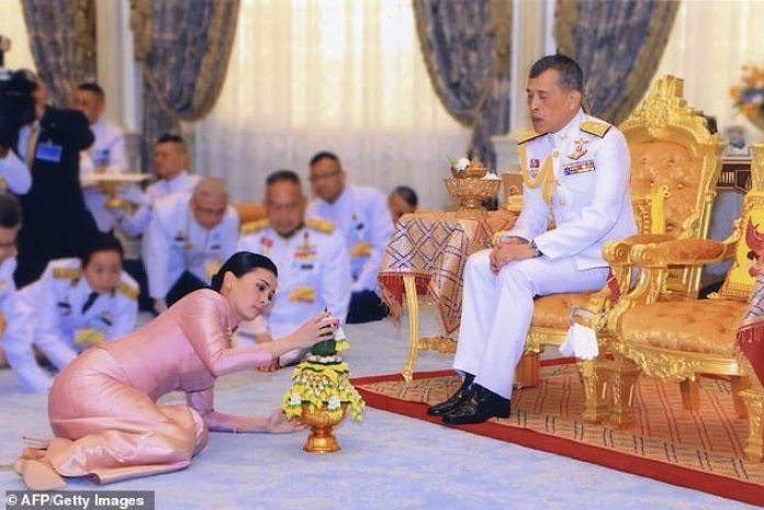 Royal tradition dictates that the King, as a living deity, must be physically higher than his courtiers during royal ceremonies, meaning they are forced to crawl