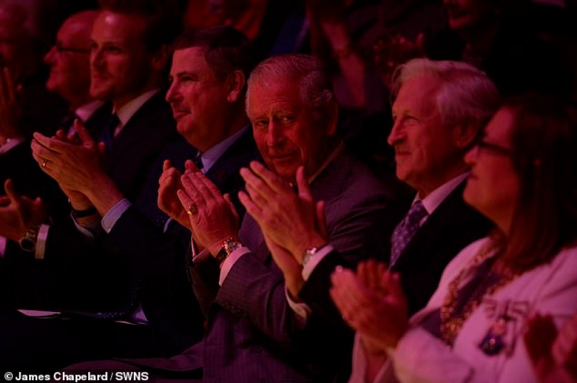His Royal Highness, who is the Royal Conservatoire of Scotland's Patron, is meeting students from a range of disciplines and seeing some of their creative and performance work. Pictured, Prince Charles can be seen clapping