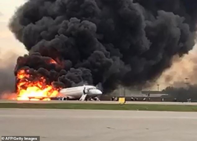 Disaster: A huge fireball breaks out of the superjet plane after it crashed in Moscow