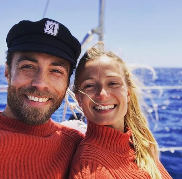32-year-old entrepreneur James Middleton poses on a boat withfinancial expert Alizee Thevenet, 30