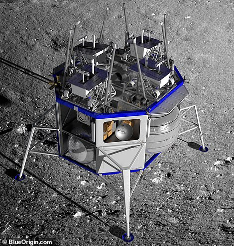 Blue Origin says its lunar lander will be able to carry all sorts of payloads to the surface and can hold 'multiple metric tons'