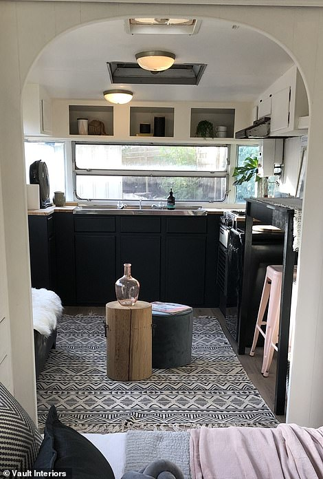 AFTER:'This project was a vintage van purchased A One Caravan Repairs who can undergo any structural changes or modify the van with all the Mod Cons,' Justine, the Director of Vault Interiors , told FEMAIL