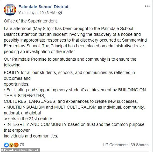 The 'incident involving the discovery of a noose and possibly inappropriate responses to that discovery' was brought to Palmdale School District's attention late afternoon Wednesday