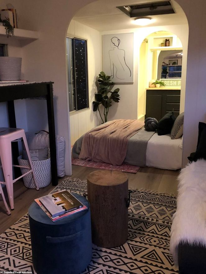 'Lastly, I also added some light canvas wall art, textured scatter cushions and throws to inject colour and personality into the caravan and add visual interest,' she said