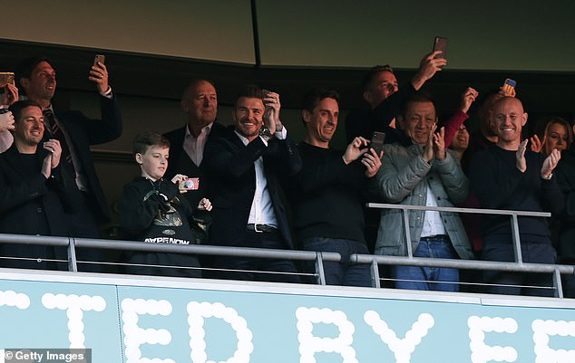 Beckham was in Wembley, north of London, to watch Salford City - a team he co-owns with Gary and Phil Neville, Paul Scholes, Nicky Butt and Ryan Giggs - to be promoted for the first time in the Football League