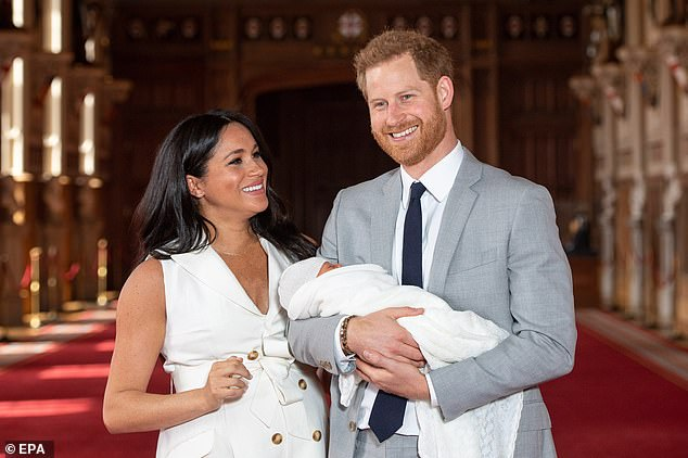 Prince Harry and Meghan, pictured introducing their son to the world at Windsor Castle last week, have spoken in the past about the 'incredibly special' relationship he has with Diana's sisters