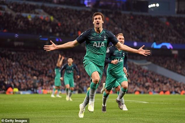 Fernando Llorente celebrates the Champions League clash in Tottenham with Manchester City