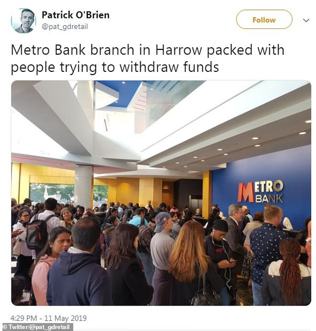 Photos circulated on social media this weekend of customers withdrawing money from a number of branches of Metro Bank. The bank blamed 'false rumours' about its financial health
