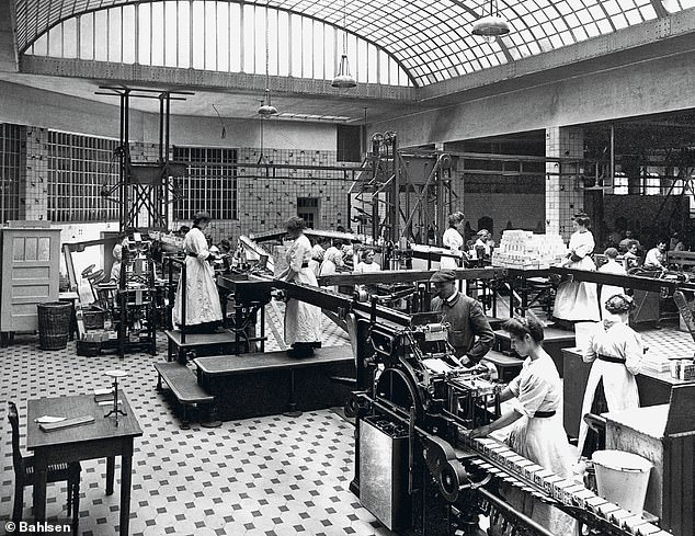 Most of the forced labourers at Hanover-based Bahlsen were women, many from Nazi-occupied Ukraine. Pictured: The Bahlsen production line in 1930s Germany