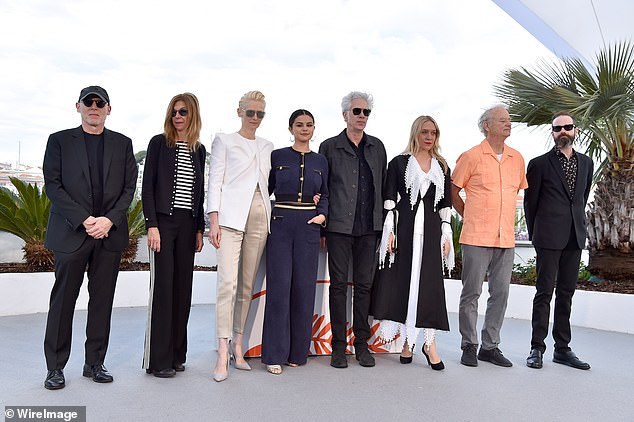 Starry lineup: (L-R) Sara Driver, Tilda, Selena , writer and director Jim Jarmusch, Chloe and Bill lined up for a group shot