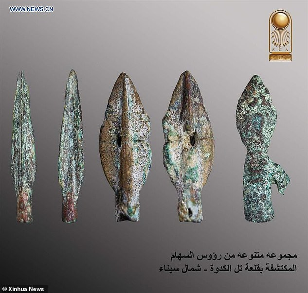 Discovered in North Sinai, the fortress is believed to date to 664-610 - the Psamtik era - the last before the Persian invasion in 525 BC. The photo above shows metal arrow heads discovered at the castle's excavation site in Sinai