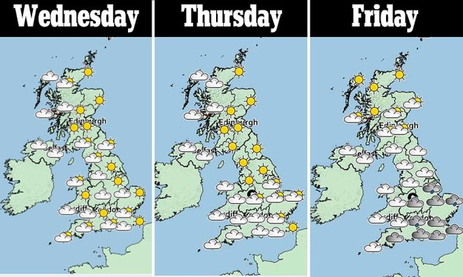 A three-day weather forecast shows Scotland, parts of northern England and the Midlands covered in sunshine today and tomorrow before rain and cooler conditions creep in on Friday and throughout the weekend