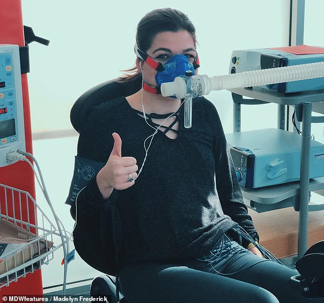 In December 2012, at age 13, Frederick was rushed to the hospital after running a mile when her pulse rate reached 234 beats per minute (bpm), higher than the maximum of 200 bpm. Pictured: Frederickdoing a test to measure her oxygen levels while exerting energy
