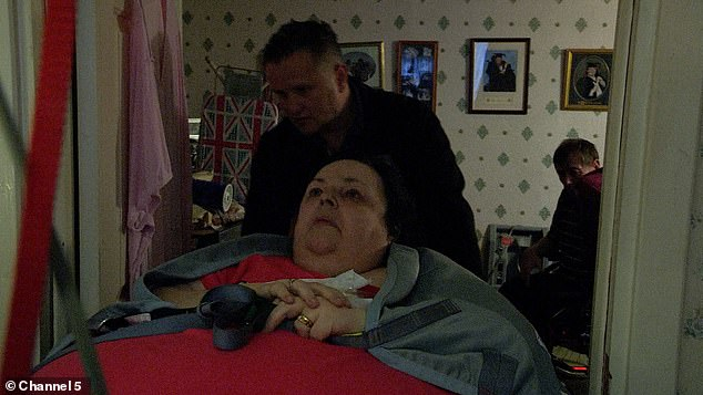 Denise was in incredible pain as the team of carers transported her from the bedroom to the living-room