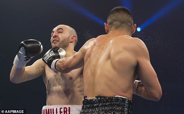 Australian boxers Tim Tszyu (right) and Joel Camilleri during their Australian Super Welterweight Title bout