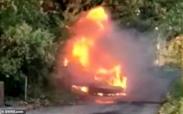 Police released footage of a blazing car while hunting for the businessman following the altercation