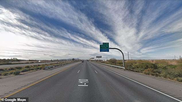 The stretch of Interstate 10 where Rodney was pulled over Monday in Eloy, Arizona, is pictured