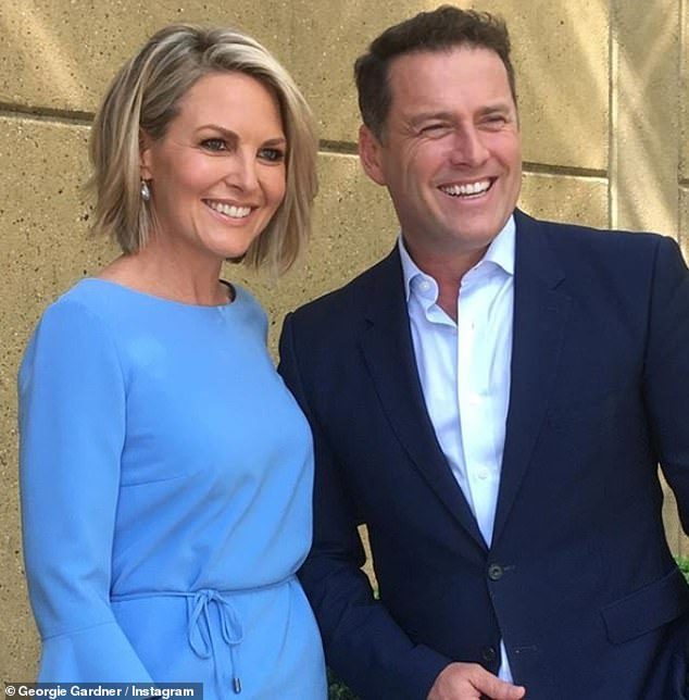 Cheeky! Georgie Gardner (left) took a swipe at Karl Stefanovic (right) over Ubergate after Uber introduced a 'quiet mode' for passengers - which instructs drivers not to talk to them during their journey
