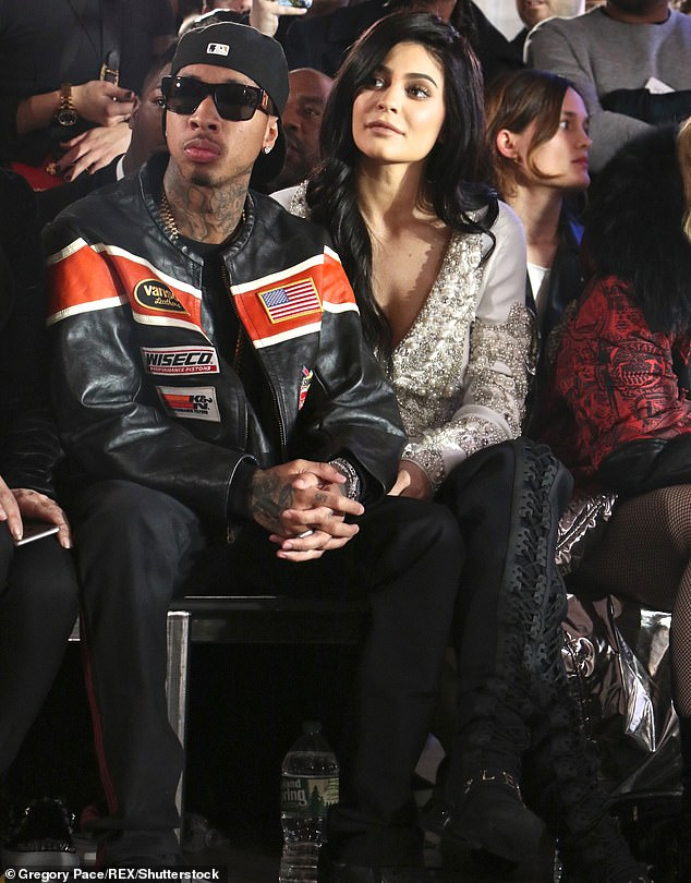 Public: Though rumors of a Tyga-Jenner relationship started around the time of Kylie's 17th birthday party, the couple did not go public until after the social media star turned 18. The pair are seen in 2017 above